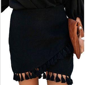 Relipop High Waist Wrap Front Tassel Skirt XXL